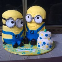 "Minions - Despicable Me For my great-nephew's 2nd birthday - he LOVES the Minions! 6"" cakes covered in fondant. I found out a lot of ways to do something..."
