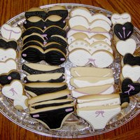 Bra & Panties And Bustier Cookies Bra and panties, and bustier cookies for a bridal shower.