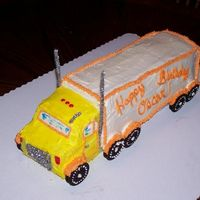 Tractor Trailer This cake was SO easy to make! It is made of yellow cake and BC frosting. I glued a1 inch by 1 inch peice of styrofoam to the cake board....