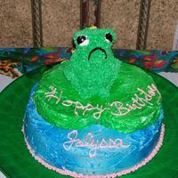 Frog On Lily Pad This was one of the first novelty cakes I made-Chocolate Fudge cake with buttercream frosting. My 8 year old neice LOVES frogs so this was...