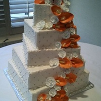 5 Tier Square Wedding Cake   diamond pattern, silver dragees, 1/4 turned still don't like doing square cakes :-)flowers were gumpaste