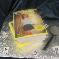 Nancy Drew Book Cake top picture was provided by mom who designed it. magnifying glass is poured sugar with fondant handle