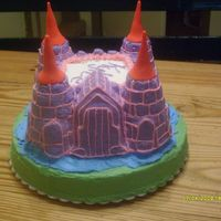 Princess Kylee's Castle Strawberry WASC with buttercream icing and fondant peaks.