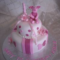 Piglet First Birthday Fondant Piglet and decorations. TFL