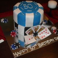 "50Th Birthday Cake Poker chips are 8"" chocolate cake covered in fondant.."