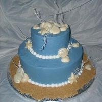 Seashells White chocolate shells made with mold. Marble cake covered in BC.TFL