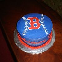 "Red Sox BC, with chocolate ""B"". This was just a quick cake for my DH, for his ""employee of the month"" party at work tomorrow."