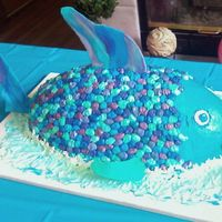 Rainbow Fish This huge fish I made for a Rainbow fish teamed baby shower.