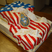 Flag Welcome Home Cake 12x18 and 9x9 Marble cake with raspberry filling.