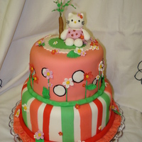Hello Kitty Made for my neice's birthday. Fondant covered cake with gumpaste flower, kitty, and tree.
