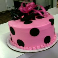 Pink With Black Dots Pink buttercream iced with black fondant dots. Made fabric bow and fondant high heel shoe for top.