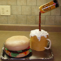 Cheeseburger And Beer This cake was made for a family reunion. The family is spread across Canada and England, so my challenge was to build a cake that...