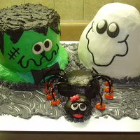 "Frank 'en Boo Cake made for my son's Class Halloween Party. We named the spider ""En and the ghost Boo so we could manage a decent name for the..."