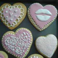 Valentine's Day Cookies NFSC recipe, pink fondant, royal icing and cupcake stencils