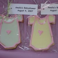 Onesie Cookies Used Toba Garrett's butter cookie recipe and her icing for royal icing. Both her recipes were SO easy and the cookies were a big hit...