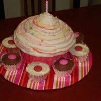 Giant Cupcake Giant wilton cupcake pan used - buttercream icing w/strawberry filling.