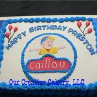 Caillou Birthday Cake WASC with buttercream icing. Fondant cutout Caillou. Enjoyed doing the Caillou, but borders are a bit much for me, but what the client...