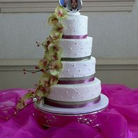 Quilted Wedding Cake WASC cake with buttercream icing. Silk flowers and ribbons. Thanks for looking