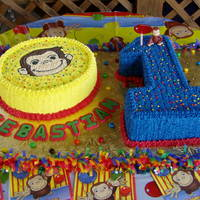 Curious George Vanilla cake with buttercream. Curious George birthday cake for my baby's 1th year!! Thanks for looking.
