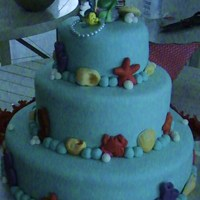 Ariel- Little Marmaid 3 tier Chocolate cake, chocolate ganache filling and fondant. Thanks for looking.