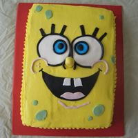 Spongebob! 1/4 Sheet cake, BC with fondant accemts. Thanks to nefgaby for the inspiration.Chocolate Fudge with oreo filling.