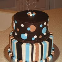 "Angie's Baby Shower 10"" red velvet with cream cheese, 8"" chocolate with dark chocolate ganache. Buttercream with fondant accents."