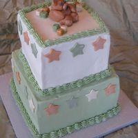"Boy Baby Shower 8"" & 6"", white cake with strawberry cream cheese mousse filling. Decorated to match the nursery decor."