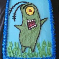 Plankton Mollys 5th Birthday, she wanted Plankton from Spongebob. Chocolate cake with chocolate pudding filling.