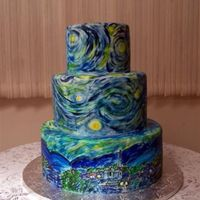 Starry Night For A Sweet 16 This cake was for my cousin's Sweet 16 birthday. Her theme was Vincent Van Gogh's Starry Night painting. I painted the cake...