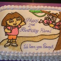 Dora The Explorer This cake was made for a birthday party for a little girl that loved Dora. I traced a dora page out of a coloring book on to wax paper and...