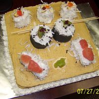 Sushi Made with BC, dried fruits, pink grapefruit, kiwi and coconut.....I like everything but what I had to use for the chop-sticks. (Had to find...
