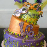 Mardi Gras Themed Birthday Cake I was sooo agitated over this cake. It looked so adorable, and then the customer decided she wanted writing on the cake...which I think...