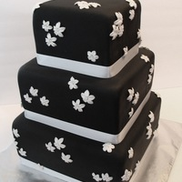 Black And White Elegance This cake was covered with black fondant and had white gumpaste stephanotis flowers; white satin ribbon. It was a chocolate fudge cake with...