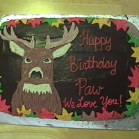 Deer I made this cake for my dad. I used one cake mix and canned icing, one chocolate and one vanilla. I printed a photo from a website and free...
