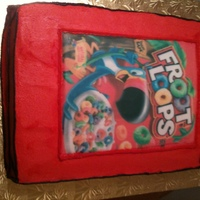 Froot Loops Groom's Cake Was askd to do cereal boxes for a groom who loved cereal. they choose Fruity Pebbles and Froot Loops. This is the second of the 2 cakes....