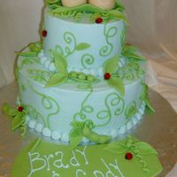 Peas In A Pod b/c with fondant accents.