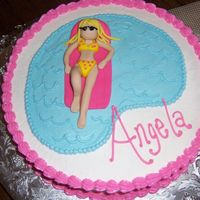 Adult Swimming Party b/c with fondant person.