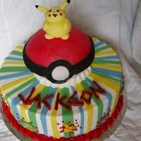 Pokemon b/c with fondant decorations and gumpaste Pokemon