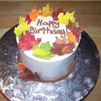 Fall Birthday Iced in BC with pre-made sugar leaves I got at the cake supply store. TFL