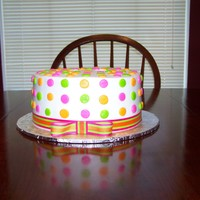 Polka Dot Iced in BC with fabric ribbon.