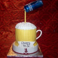 Bud Light/alabama Two of my husband's favorite things:Bud Light and Alabama football!9 inch round for bottom layer, fondant A's, 3-layer 7 inch...