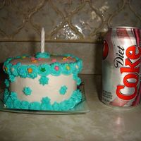 Mini Cake Used a coke can to show size. Buttercream and wilton sprinkles