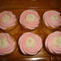 Pink And Sprinkles Strawberry and cream cheese frosting with non pareils