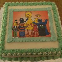 Baby Shower   10inch square for a baby shower. Sesame Street picture laminated and stuck on Gumpaste to look like a frame (Keepsake)