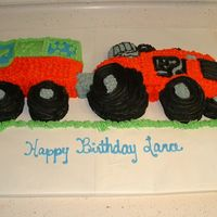 Tractor And Trailer  I made this cake for a friend's 3 year old little boy. He's not really into action figures and such so they did hey rides and the...