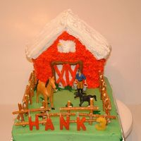 Nephew's Farm Themed Birthday  I made this cake for my nephew's 3rd bday. Yellow cake w/ bc icing. Barn is old Wilton gingerbread house cake pan from my moms attic....