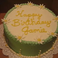 Simple Birthday Cake Gumpaste Daisies. Buttercream Icing. WASC. The lady who ordered from me never gave me any theme, color, or design ideas to work from. The...