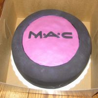 Mac Cake I made this cake for a MAC make up artist's birthday at my work. i used all fondant and used luster dust to create the eyeshadow color...