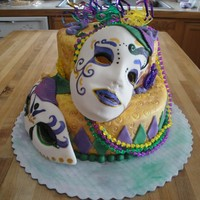 Mardi Gars Bday  my first mardi gras cake. so much fun, thanks for all the inspirations on here. The masks were lots of fun to make.. Fondant decorations w...