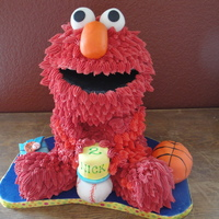 Elmo FIrst Disaster cake. ;-( it fell had to go repair not the same. OH well life the customer was so awesome bout it.